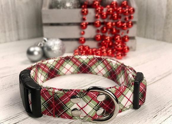 Red and Green Plaid Christmas Dog Collar