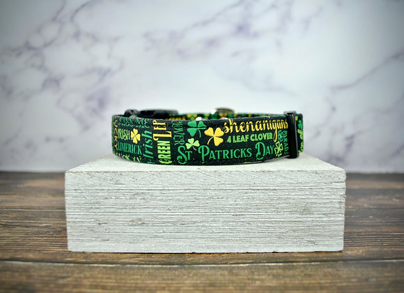 St. Patrick's Day -  Black Dog Collar with Classic Irish Phrases