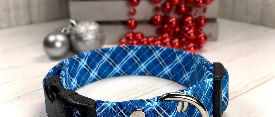 Blue Plaid Winter Christmas Dog Collar