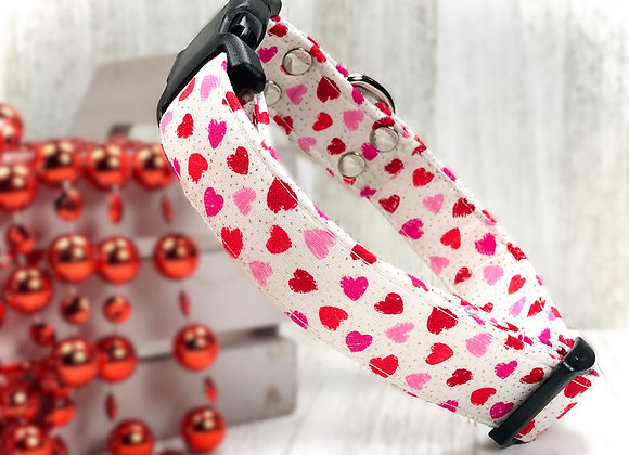 Sparkling Pink & Red Hearts Valentines Day Dog Collar