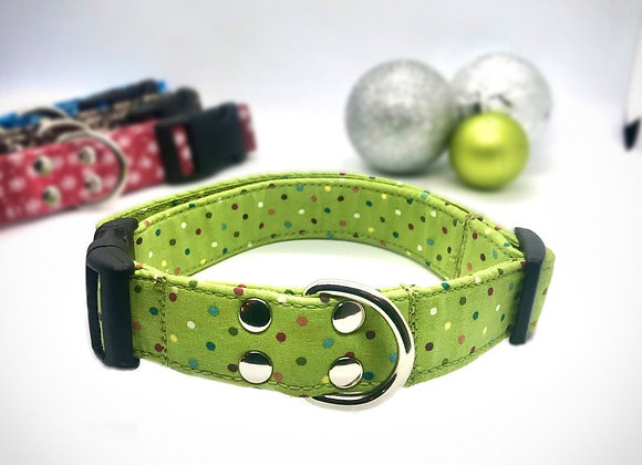 Christmas Rainbow Dots Fabric Dog Collar
