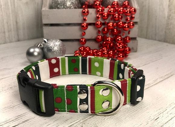 Dots and Stripes Holiday Christmas Dog Collar