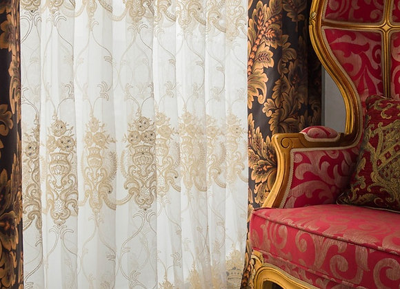 義大利大馬士革緹花窗簾(布+紗)