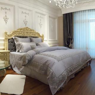 埃及棉蕾絲床組+義大利絨布窗簾