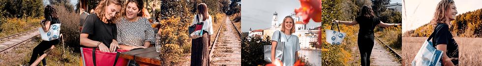 Verschiedene Bilder auf denen junge Frauen einen INN.MYBAG Shopper tragen