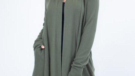 Open Front Long Sleeve Solid Cardigan-Olive