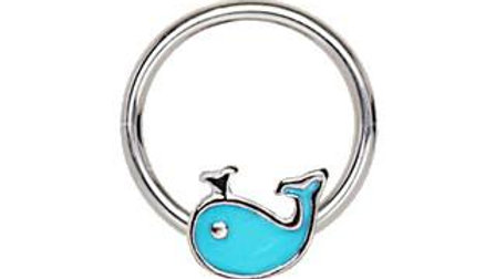 Blue Whale Snap-In Captive Bead Ring / Septum Ring