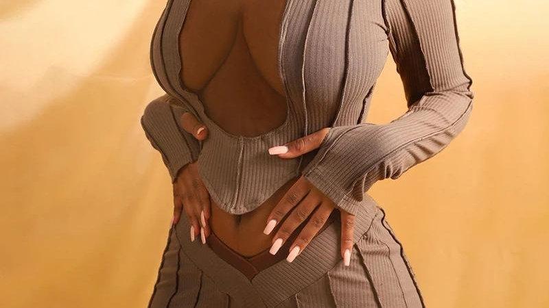 Women Fitness Long Sleeve Crop Top White Striped High Waist Legging