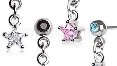 Surgical Steel Star Dangle Cartilage Earring
