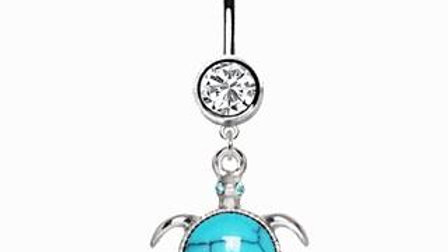 Turquoise Turtle Dangle Navel Ring
