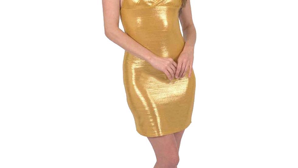 Ferrari Shiny Body-Con Gold Dress