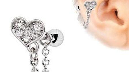 Clear CZ Heart Chain Wrap Cartilage Earring