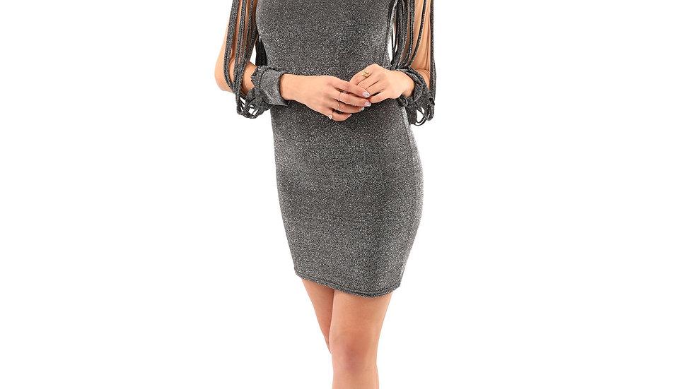 Harridge Slit Sleeves Metallic Mini Dress