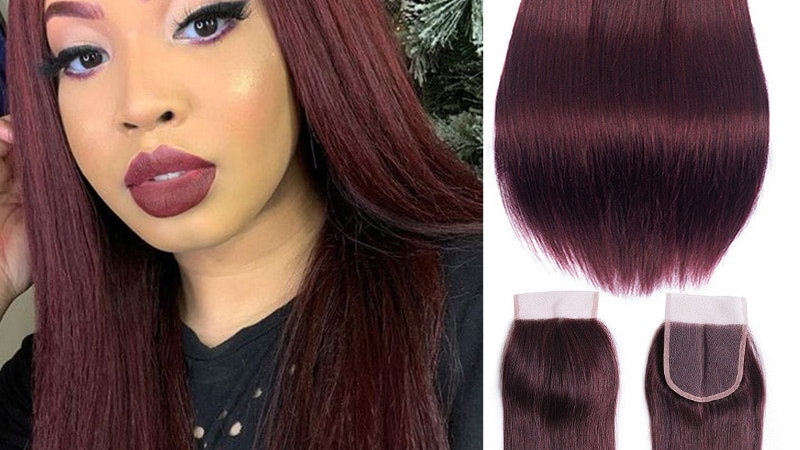 Brazilian Straight Hair Colored Burgundy Bundles With Closure