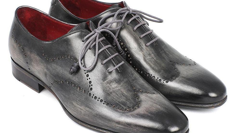 Paul Parkman Wintip Oxfords Gray & Black Handpainted Calfskin