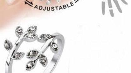 Adjustable Pave Crystal Leaves Ring