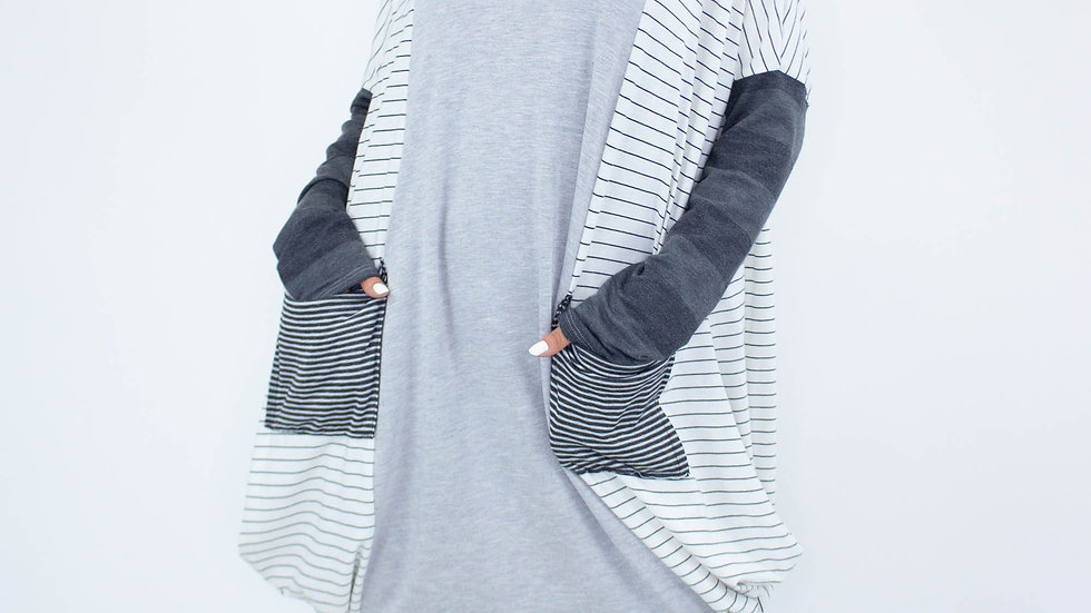 Color Block Tunic Top With Pockets