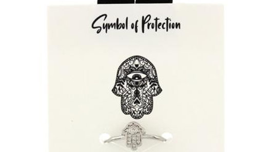Symbol of Protection Adjustable CZ Ring