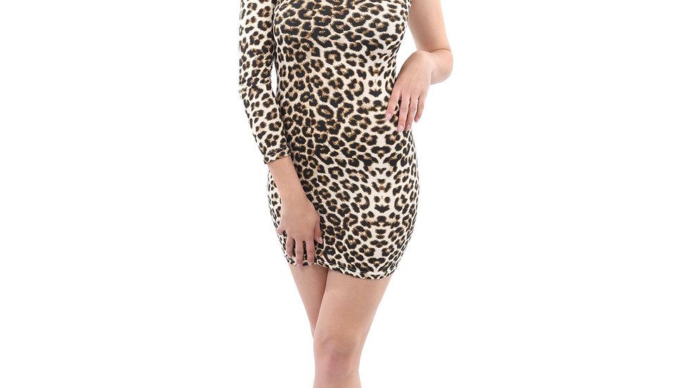 Reeves One-Sleeve Leopard Print Mini Dress
