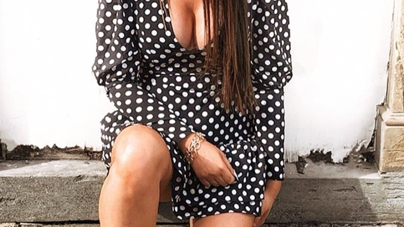 Black Polka Dot Puff Sleeve Frill Dress