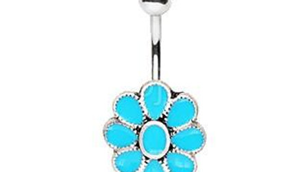 Teal Blue Flower Navel Ring