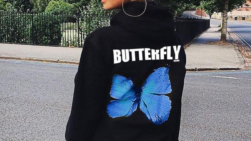 Print Black Hoodie Butterfly Long Sleeve Pocket Hoodies