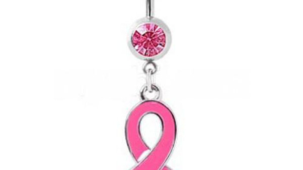 Navel Ring With Enameled Pink Awareness Ribbon Dangle