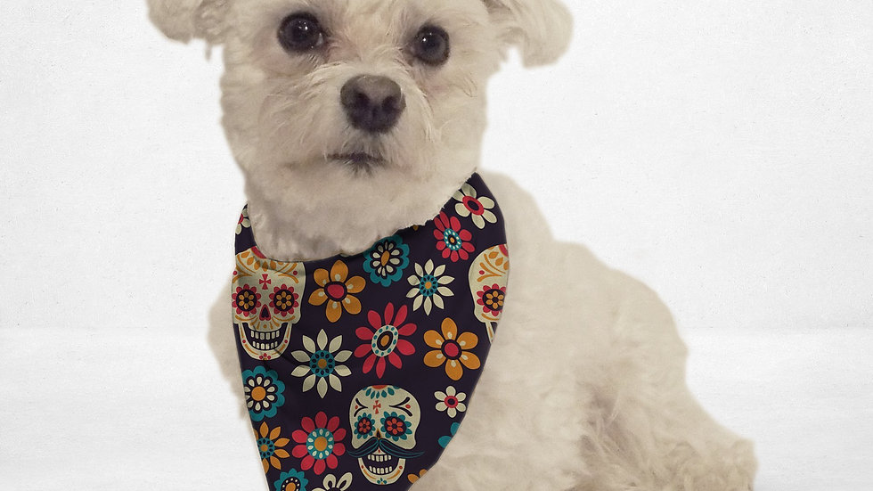 Colorful Sugar Skull Cat & Dog Bandana