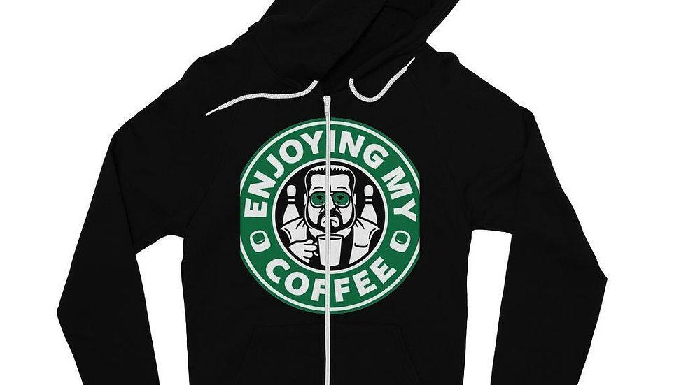 Enjoying Coffee Fine Jersey Zip Hoodie
