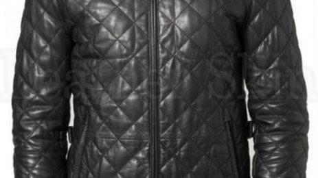 Men Black Quilted Leather Biker Jacket
