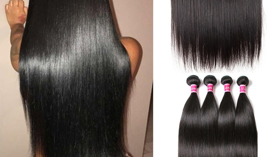 Straight Hair Malaysian Hair Bundles With Frontal Closure Remy Human Hair