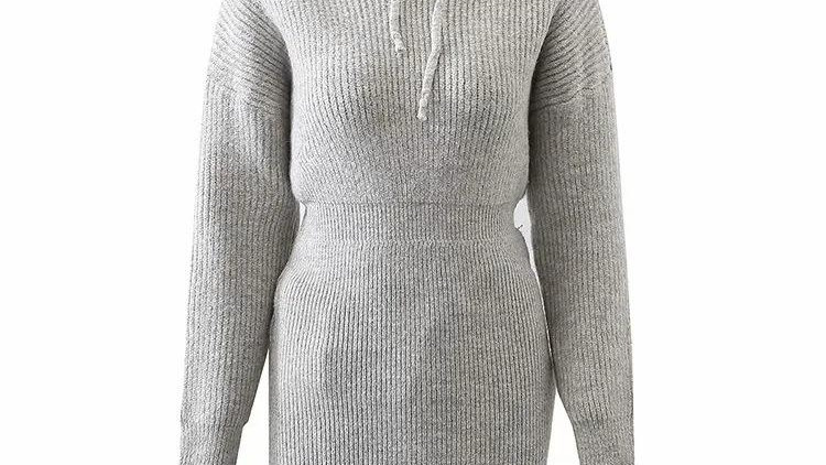 Sexy Knitted Solid Hoodies Bodycon Dress