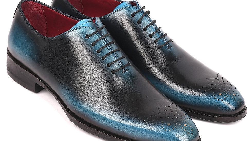 Paul Parkman Men's Black & Blue Wholecut Oxfords (ID#KR884BLU)