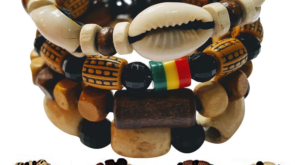 4 Pcs Bracelets for Men Women Wooden Beaded Bracelets