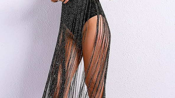 Black Fringe Bodysuit Dress