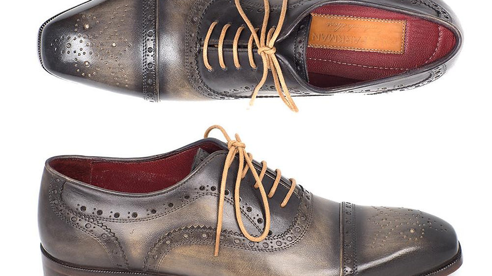 Paul Parkman Men's Captoe Oxfords Gray (ID#024-GRAY)