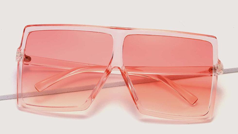 Pretty in Pink Trendy Flat Top Sunglasses