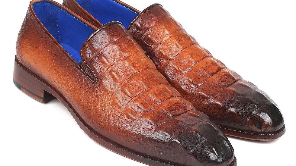 Paul Parkman Brown Crocodile Embossed Calfskin Loafers (ID#5576-BRW)