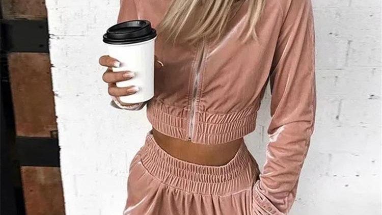 Velvet Women Set Long Sleeve Crop Hoodies and Pants Joggers Suit