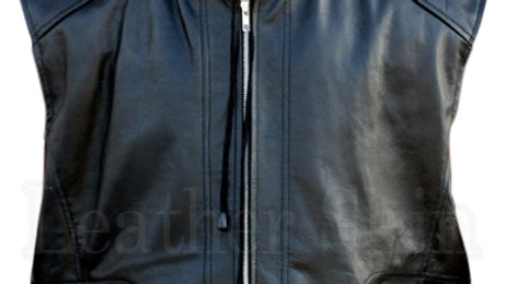 Men Black Hooded Leather Vest