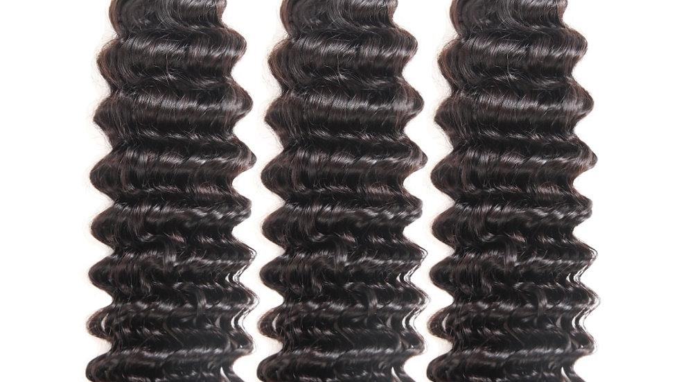 Deep Wave 100% Human Hair Weave Natural Color Malaysian Remy Hair Bundles
