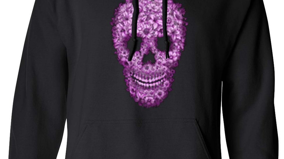 Pullover Hoodie Pink Flowered Sugar Skull Dia De Los Muertos Katrina Grim Reaper