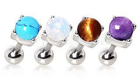 Cartilage Earring With Prong Set Stone