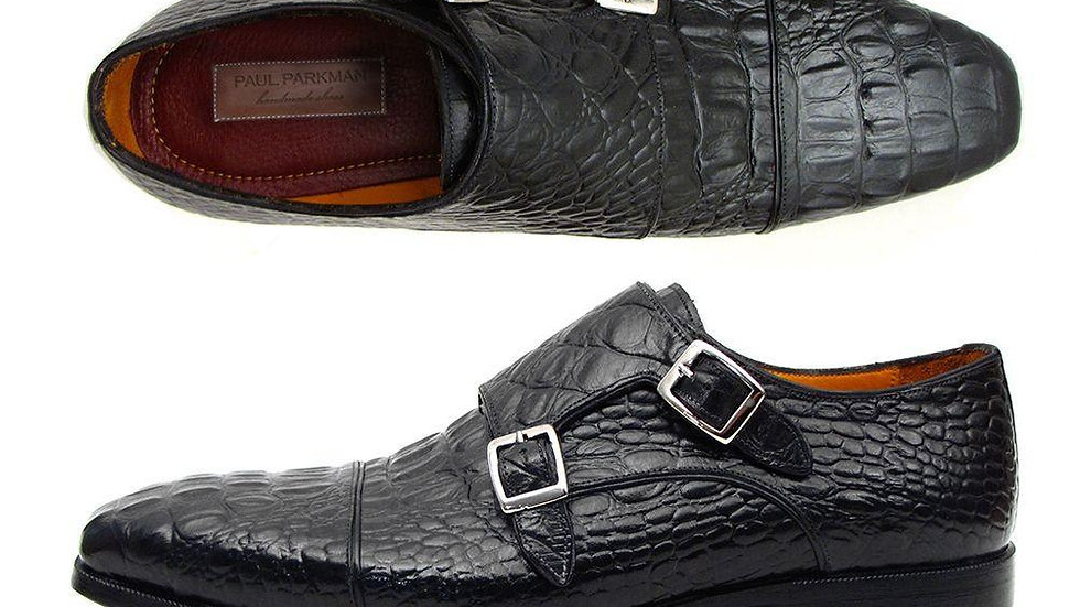 Paul Parkman Men's Double Monkstraps Black Crocodile Embossed Calfskin