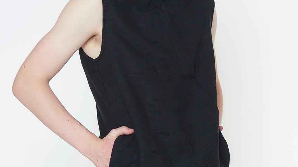 Konus Men's Asymmetrical Zip Up Sleeveless Hoodie In Black