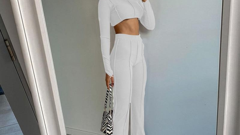 Long Sleeve Backless Bandage Sexy Crop Top Leggings 2 Pieces Set