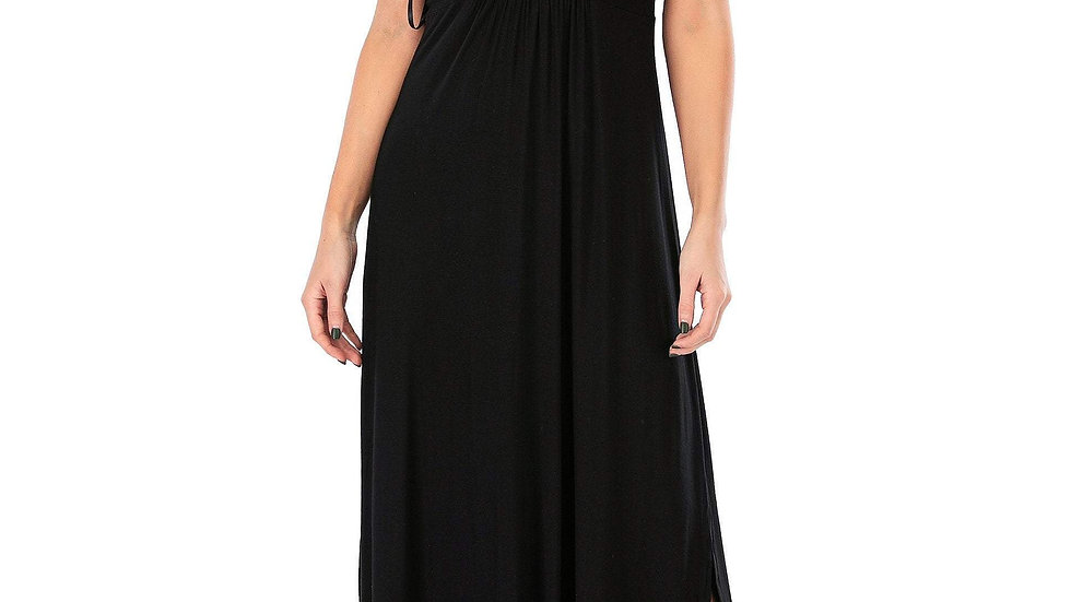 Calison Women's Sleeveless V-Neck Maxi Black Dress