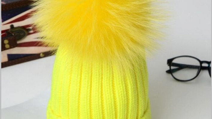 Real Fur Pompoms Knitted Beanies Caps for Girls Women Boy and Child