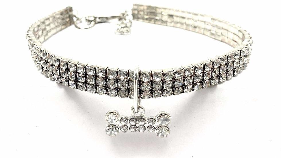 Rhinestone Crystal Dog Necklace With Pendant