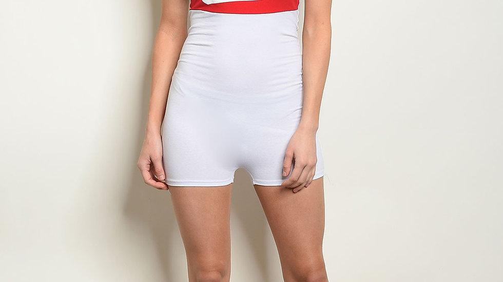 Womens White Red Romper